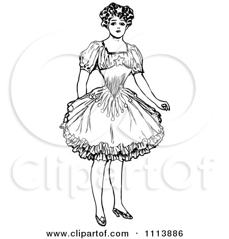 Clipart Vintage Black And White Female Circus Performer - Royalty Free Vector Illustration by Prawny Vintage