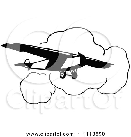 Clipart Vintage Black And White Airplane And Clouds - Royalty Free Vector Illustration by Prawny Vintage
