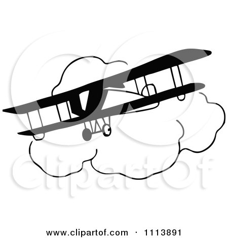 Clipart Vintage Black And White Bi Plane And Clouds - Royalty Free Vector Illustration by Prawny Vintage
