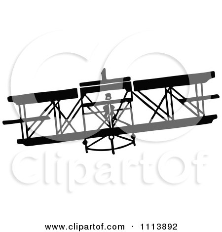 Clipart Vintage Black And White Biplane - Royalty Free Vector Illustration by Prawny Vintage