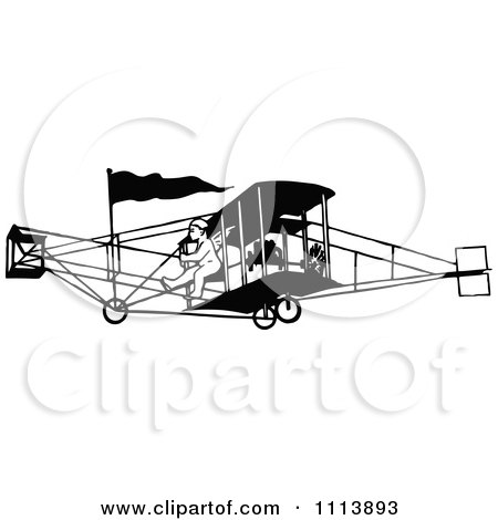 Clipart Vintage Black And White Biplane And Pilot - Royalty Free Vector Illustration by Prawny Vintage