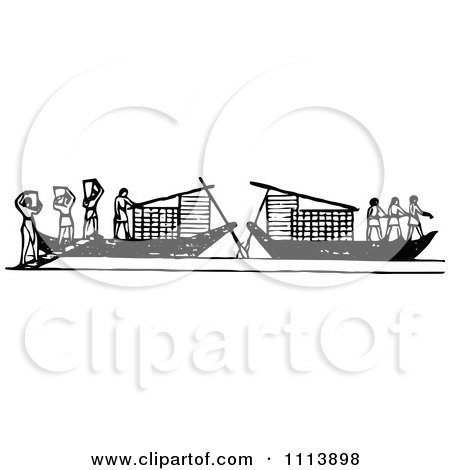 Clipart Vintage Black And White Ancient Workers Transporting Lumber On Boats - Royalty Free Vector Illustration by Prawny Vintage