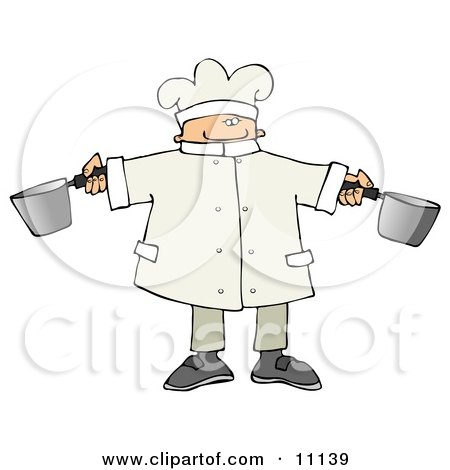 Male Chef Holding Two Pots in a Kitchen Posters, Art Prints