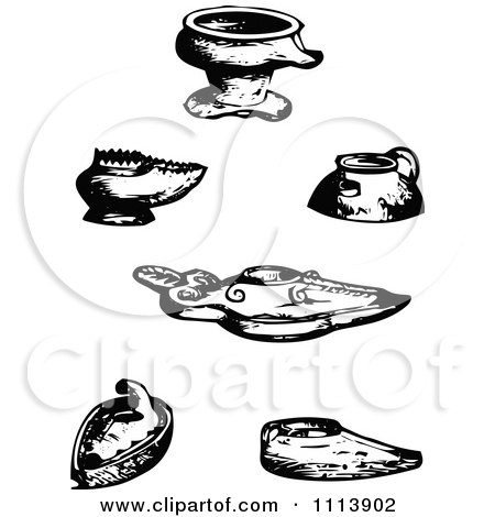 Clipart Vintage Black And White Ancient Assyrian Oil Lamps - Royalty Free Vector Illustration by Prawny Vintage