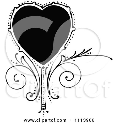 Clipart Vintage Black And White Ornate Heart And Swirls - Royalty Free Vector Illustration by Prawny Vintage