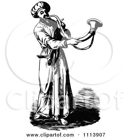 Clipart Vintage Black And White Priest Blowing A Trumpet - Royalty Free Vector Illustration by Prawny Vintage