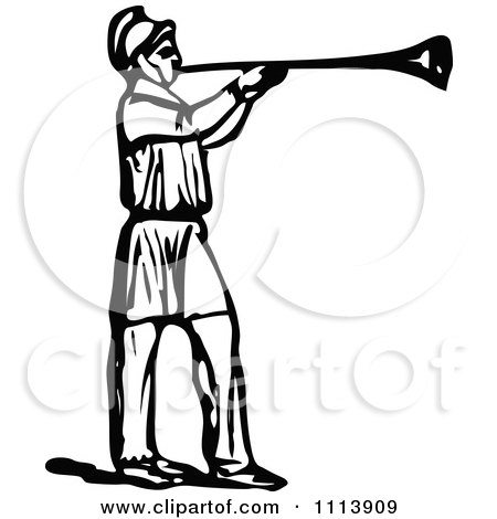 Clipart Vintage Black And White Roman Trumpeter - Royalty Free Vector Illustration by Prawny Vintage