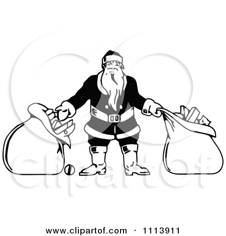 Clipart Vintage Black And White Santa With Two Bags - Royalty Free Vector Illustration by Prawny Vintage