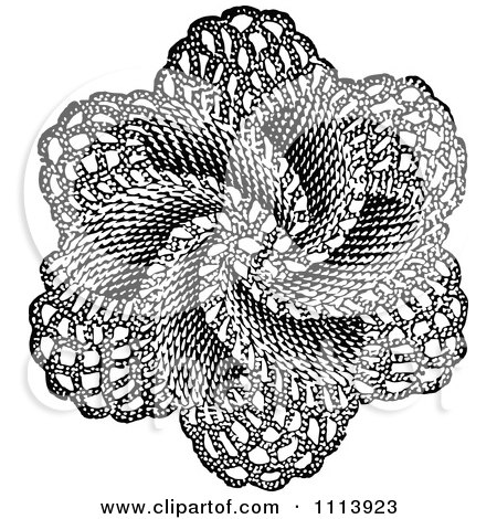Clipart Vintage Black And White Doily - Royalty Free Vector Illustration by Prawny Vintage