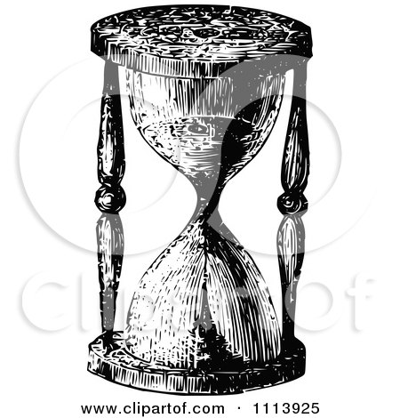 Clipart Vintage Black And White Egg Timer Hourglass - Royalty Free Vector Illustration by Prawny Vintage