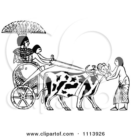 Clipart Vintage Black And White Ethopian Ox Chariot - Royalty Free Vector Illustration by Prawny Vintage
