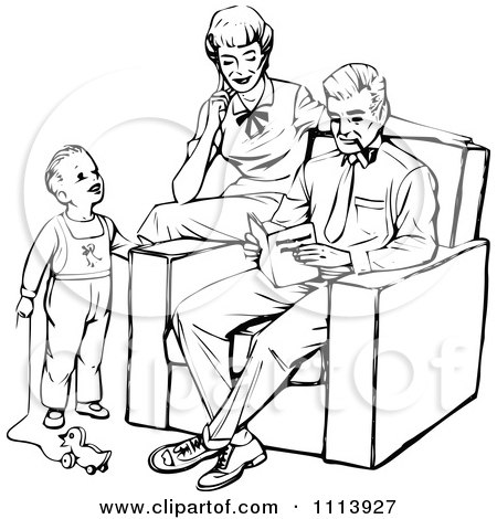 Clipart Vintage Black And White Mother And Father Reading A Book To Their Son - Royalty Free Vector Illustration by Prawny Vintage