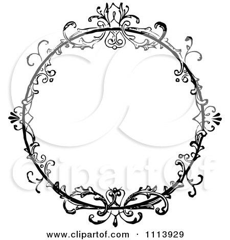 Clipart Vintage Black And White Ornate Floral Round Frame - Royalty Free Vector Illustration by Prawny Vintage