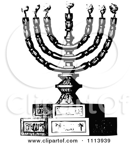 Clipart Vintage Black And White Menorah And Candles - Royalty Free Vector Illustration by Prawny Vintage
