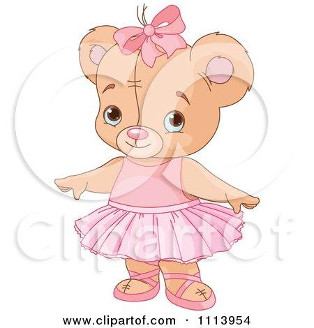 Clipart Cute Ballerina Teddy Bear - Royalty Free Vector Illustration by Pushkin
