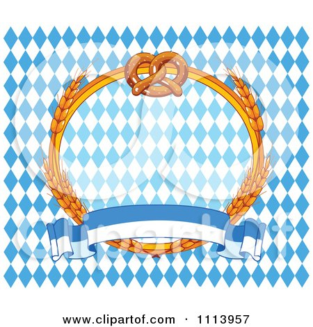 Clipart Soft Pretzel And Wheat Oktoberfest Frame Over Diamonds With A Banner - Royalty Free Vector Illustration by Pushkin