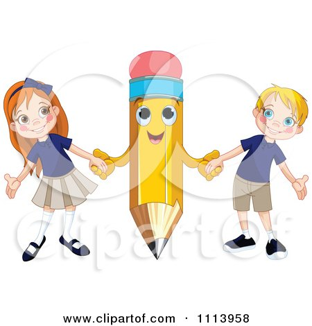 Clipart Happy Pencil Holding Hands With A School Boy And Girl - Royalty Free Vector Illustration by Pushkin