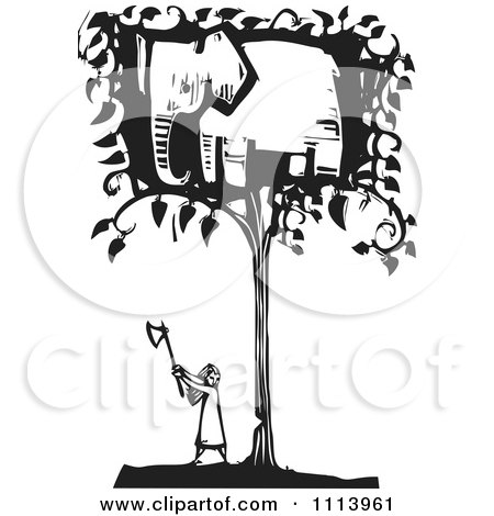 Clipart Girl Cutting Down An Elephant Tree Black And White Woodcut - Royalty Free Vector Illustration by xunantunich
