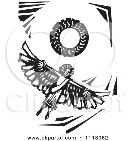 Clipart Icarus Flying Under The Sun Black And White Woodcut - Royalty Free Vector Illustration by xunantunich