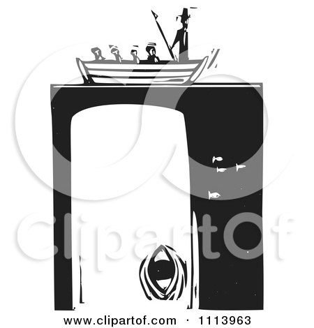 Clipart Moby Dick In A Boat Over The Whale Black And White Woodcut - Royalty Free Vector Illustration by xunantunich