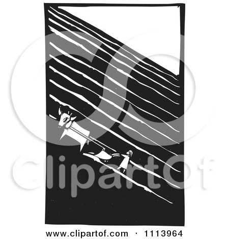 Clipart Cow And Girl Plowing A Field Black And White Woodcut - Royalty Free Vector Illustration by xunantunich
