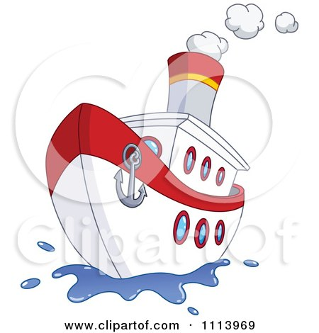 Clipart Red And White Steam Ship With An Anchor On The Front - Royalty Free Vector Illustration by yayayoyo