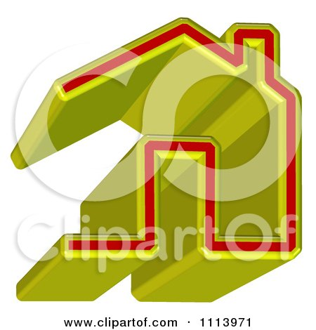 Clipart 3d Yellow And Red Home Page Icon - Royalty Free CGI Illustration by MacX