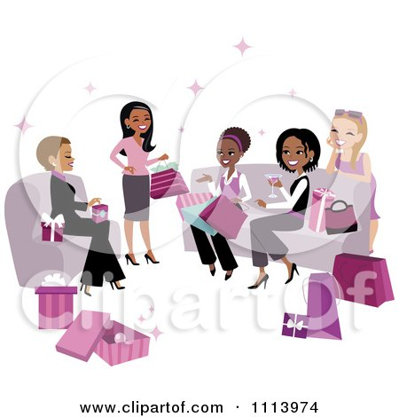 Clipart Diverse Women Exchanging Gifts At A Party - Royalty Free Vector Illustration by Monica
