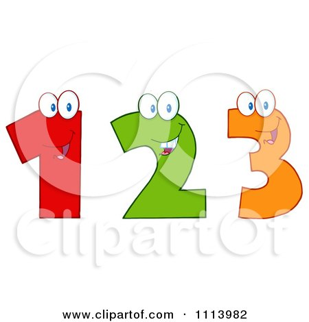 Clipart Happy 1 2 And 3 Numbers - Royalty Free Vector Illustration by Hit Toon