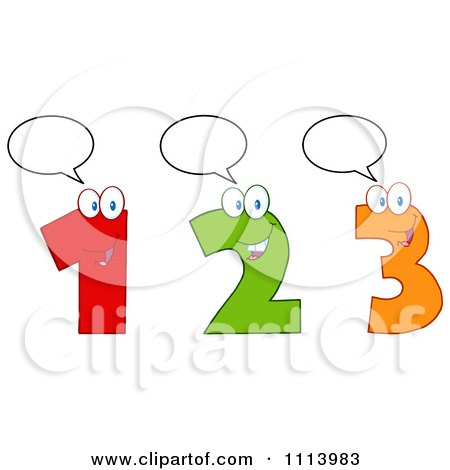 Clipart Talking Happy 1 2 And 3 Numbers - Royalty Free Vector Illustration by Hit Toon
