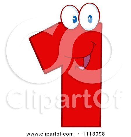 Clipart Red One Mascot - Royalty Free Vector Illustration by Hit Toon