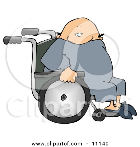 Bald Senior Man Sitting in a Wheelchair Clipart Picture by djart