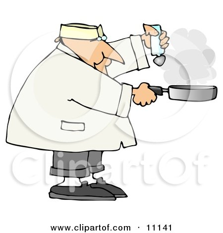 Male Chef Salting Food in a Frying Pan Posters, Art Prints