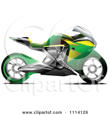 Clipart Green And Yellow Crotch Rocket Motorcycle - Royalty Free Vector Illustration by leonid