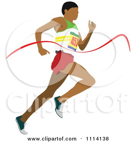 Clipart Track Man Running Through A Ribbon - Royalty Free Vector Illustration by leonid