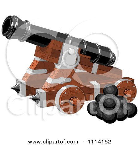 Clipart Pirate Cannon And Balls - Royalty Free Vector Illustration by Pushkin