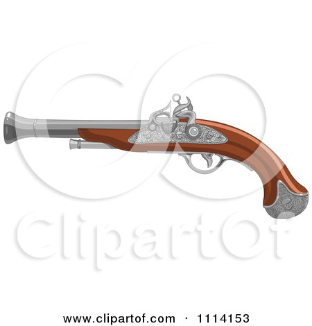 Clipart Pirate Black Smoke Gun - Royalty Free Vector Illustration by Pushkin