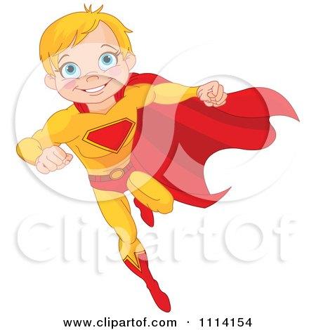 Clipart Flying Blond Super Hero Boy - Royalty Free Vector Illustration by Pushkin