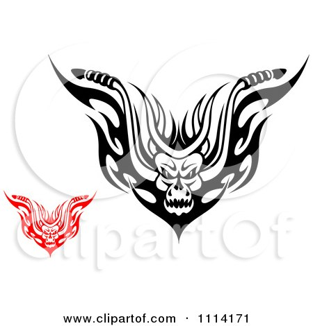 Clipart Red And Black And White Demons With Flames - Royalty Free Vector Illustration by Vector Tradition SM