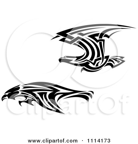 Clipart Fast Tribal Black And White Flying Eagles - Royalty Free Vector Illustration by Vector Tradition SM