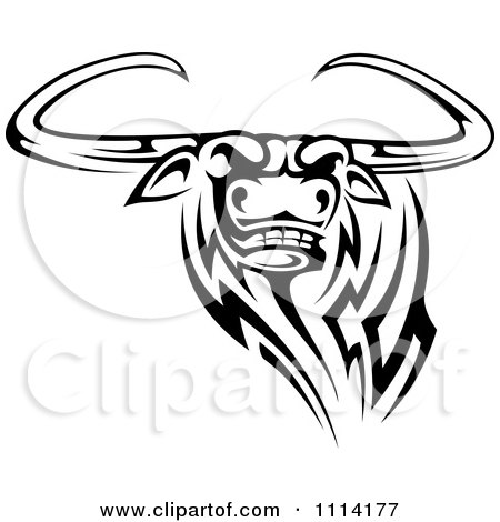 Clipart Black And White Tribal Texas Longhorn Steer Bull 3 - Royalty Free Vector Illustration by Vector Tradition SM