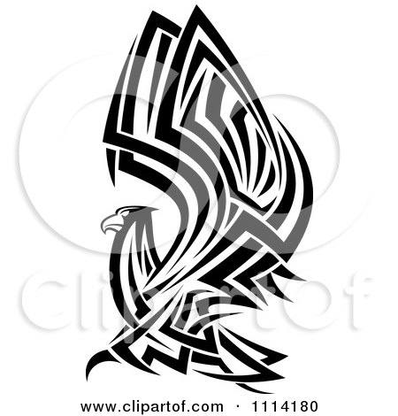 Clipart Tribal Black And White Flying Eagle - Royalty Free Vector Illustration by Vector Tradition SM