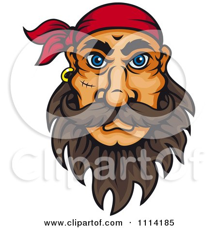 Clipart Pirate With Big Blue Eyes A Beard Stitches And Bandana Royalty Free Vector Illustration