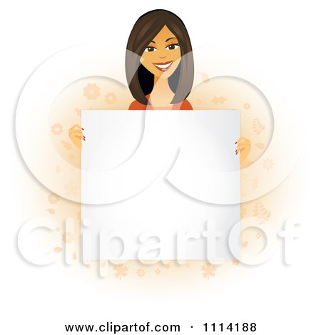 Clipart Happy Asian Woman Holding A Sign In Front Of Her Torso - Royalty Free Vector Illustration by Amanda Kate
