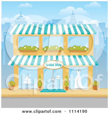 Clipart The Facade Of A Bridal Shop Building In A City - Royalty Free Vector Illustration by Amanda Kate