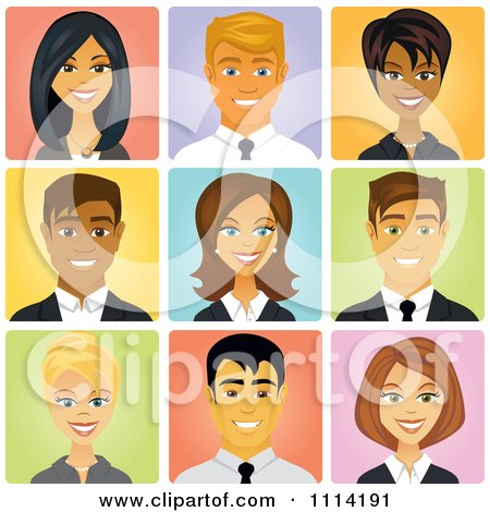 Happy Diverse Business People Avatars Posters, Art Prints