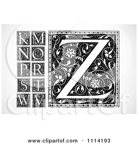 Clipart Black And White Floral Letters K M N O P Q S T W V and Z - Royalty Free Vector Illustration by BestVector