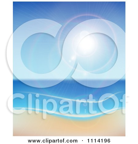 Clipart The Sun Shining Over The Sea And A Beach - Royalty Free Vector Illustration by vectorace