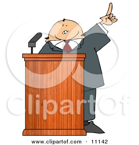 Man in a Suit at a Podium Giving a Passionate Public Speech Clipart Picture by djart