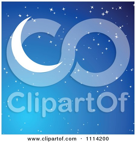 Clipart Crescent Moon In A Blue Starry Sky - Royalty Free Vector Illustration by vectorace